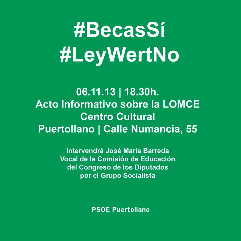 Acto informativo sobre la Ley Wert (LOMCE) – 06.11.13 | 18.30h. | Centro Cultural de Puertollano